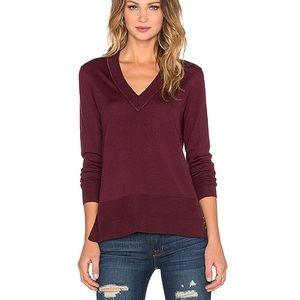 Rag & Bone Leanna V Neck Sweater Burgundy Small